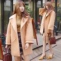 2016 La Más Nueva Manera mujeres abrigo de lana gabardina de lana de Alta calidad mujeres Elegante outwear señora otoño invierno cálido parka LX6193