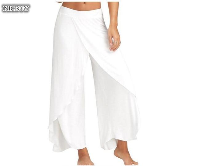 Новые летние Высокая Талия Для женщин Повседневное брюки широкие свободные длинные брюки женские удобные широкие брюки ноги плюс Размеры M-5XL
