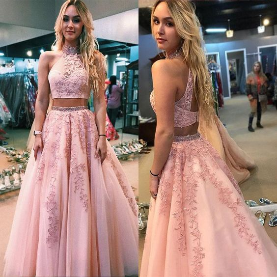 Two Pieces Prom Dress with Keyhole Back Crop Top