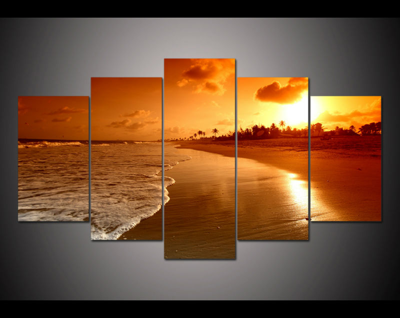 New 5 Panel Large Hd Printed Oil Painting Beach Sunrise