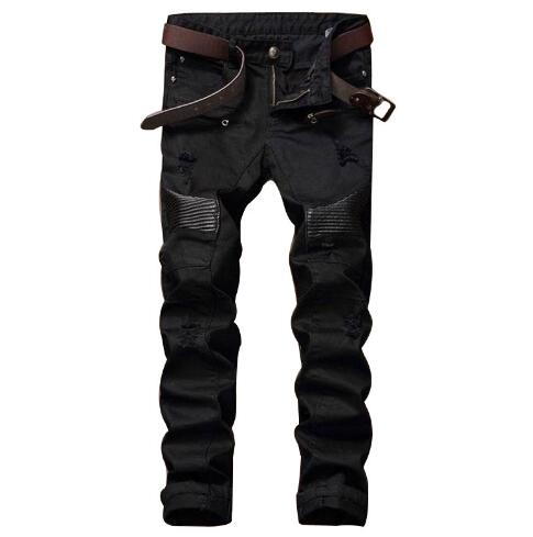 #1555 Slim Mens designer clothes Straight Mens black jeans Skinny mens jeans stretch Pleated Ripped jeans for men Distressed