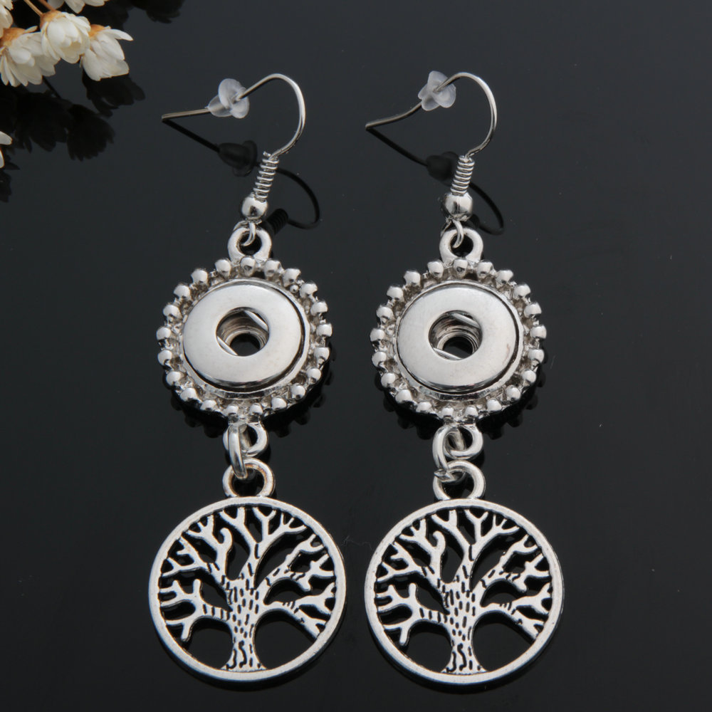 Fit 12mm Snap Button Earrings Retro Living Tree of Life Charms Lucky Drop Earrings DIY Snap Buttons Pendant Long Earring NE014 image