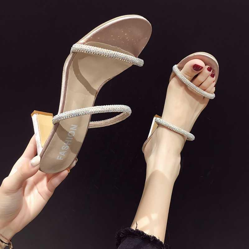 Giày Nữ Giày Dép mặc ngoài kim cương mới sáng bóng giày cao gót cho mùa hè 2019