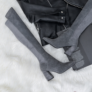 Image 3 - Sexy over the knee high boots woman suede leather thick high heels women boots autumn winter black gray party shoes woman