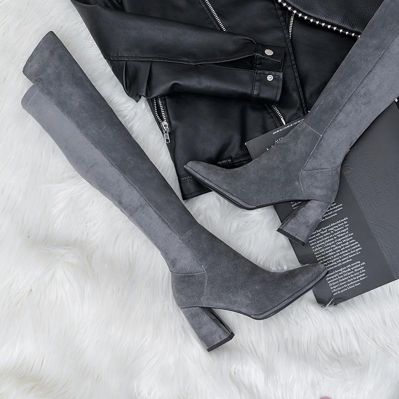 Fiesta gris Sexy Tacones Mujeres Las Cuero Los Altos Encima Mujer Negro Zapatos Invierno Gris Negro Gamuza La Por Botas De Otoño Rodilla 4v4Hw1rq