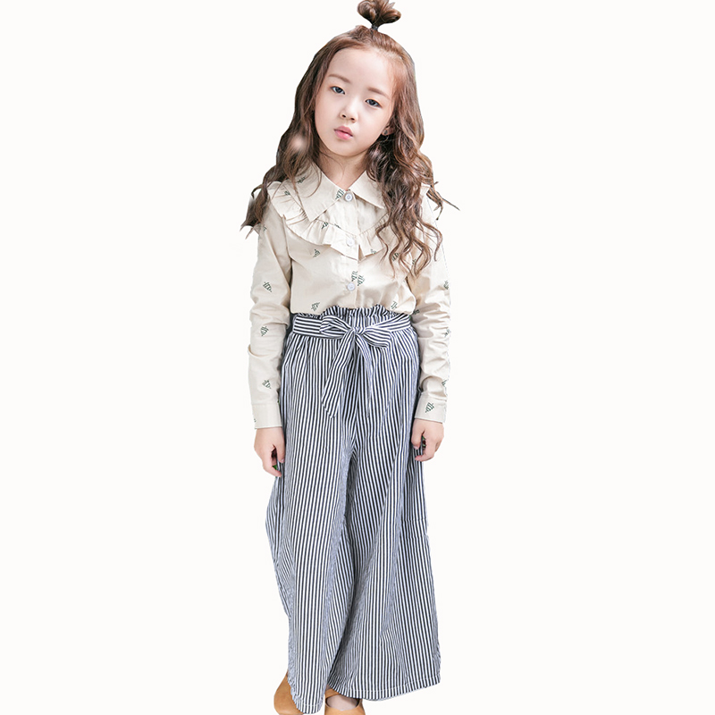 2018 Kids Girls Clothes Set Baby Girl Summer Casual Christmas tree Shirt +Stripe Pant 2PCS Outfit Children Clothing Set 2pcs children outfit clothes kids baby girl off shoulder cotton ruffled sleeve tops striped t shirt blue denim jeans sunsuit set