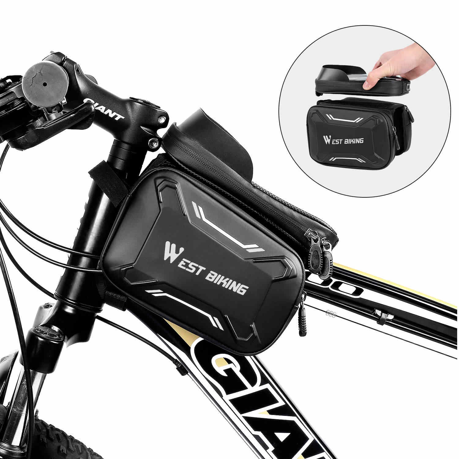 Bicycle Travel Bag Cycling Front Tube Frame Pouch For MTB Bike Waterproof UK