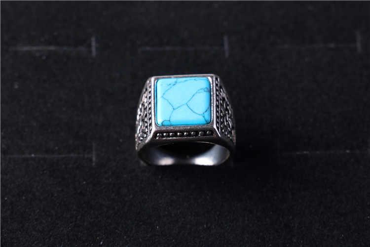 Western ชาติพันธุ์โบราณเงิน Signet แหวนหินสแควร์ชายสำหรับชายอุปกรณ์เสริมเครื่องประดับ Bague Homme