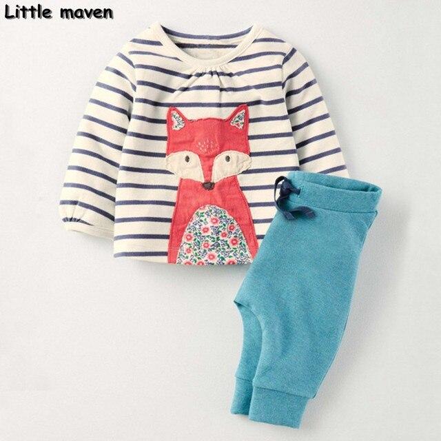 Little maven children's set 2016 new autumn girls Cotton brand long sleeve children's fox print Sets S058