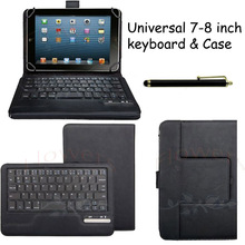 "New Universal Detachable Wireless Bluetooth Keyboard Leather Case Cover Universal 7""-8"" Tablet PC Leather Case"
