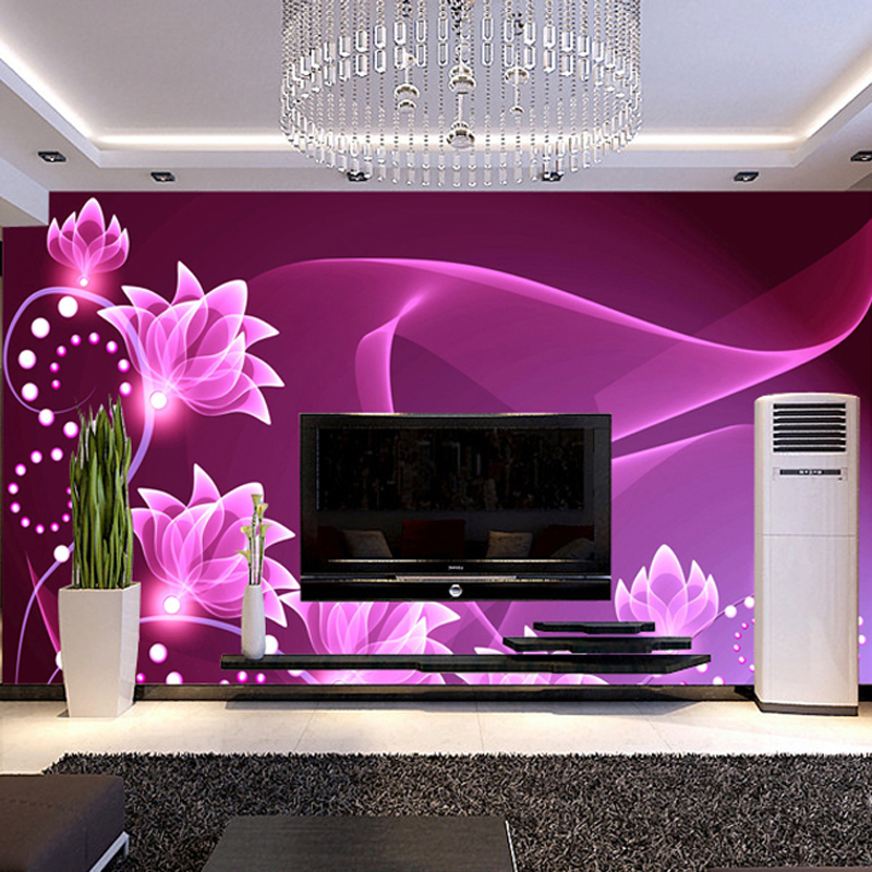Hot TV sofa background custom wallpaper minimalist living room bedroom wall paper 3d perspective Purple nonwoven large mural free shipping marshall dimensions art wallpaper nonwoven large mural bedroom living room tv backdrop custom size