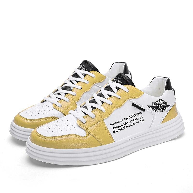 Haute qualité hommes chaussures vulcanisées nouveauté mode hommes chaussures loisirs appartements chaussures à la mode PU respirant baskets - 2