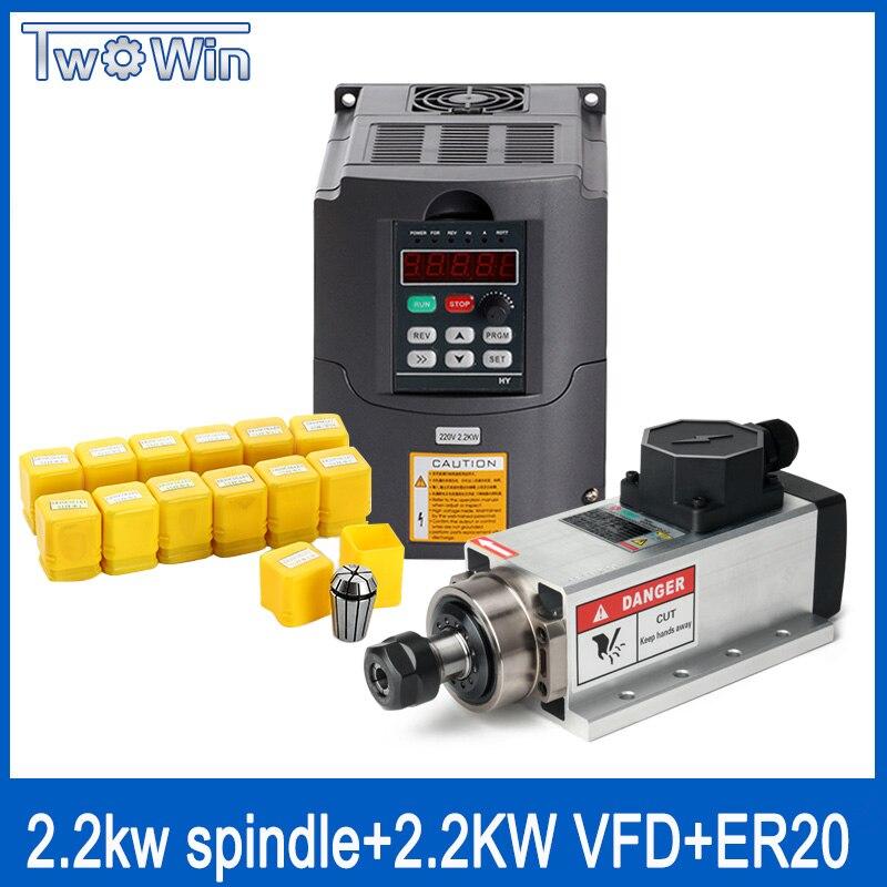 Kit motor spindle 2.2kw refrigerado a Ar-quadrado 2200 w + eixo 2.2kw 220 V inversor + ER20 pinça ar do motor spindle gravura moagem
