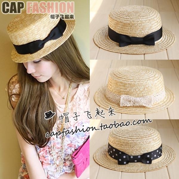 Flat strawhat female beach hat summer sunbonnet ccia cap round hat fedoras sun hat