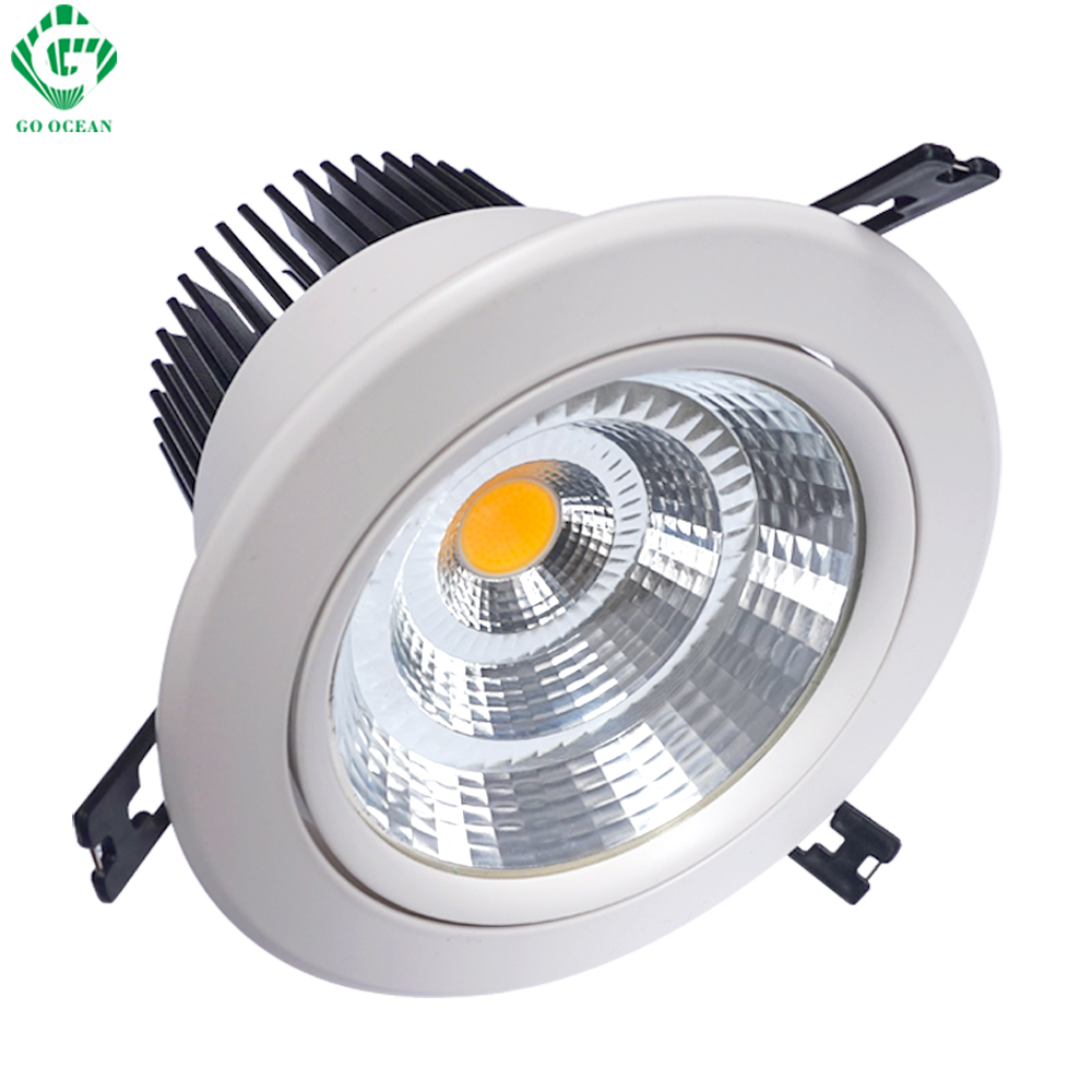 LED Downlights Down Light 7W 10W 12W 15W 20W 30W 40W 50W Runde Indbygget Downlight Justerbare Loft Spotlamper Køkkenbelysning