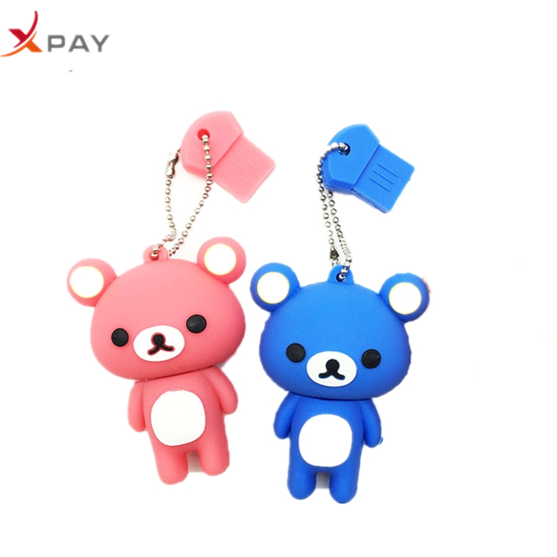 USB 2.0 Lovely Cartoon Bear Pendrive 128GB 64GB 32GB 16GB 8GB 4GB USB flash memory stick Pen Drive Silicone flash disk for gift-in USB Flash Drives from Computer & Office