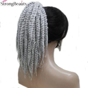 Image 2 - Starke Schönheit Afroamerikaner Zöpfe Geflochten Silber Grau Synthetische Pferdeschwanz Erweiterung Haarteil Klaue Clip