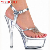 New Design Women's Sexy Transparent Sandals Thin Heels Shoes 15cm High Heels Silver Wedding Shoes Crystal Dance Shoes