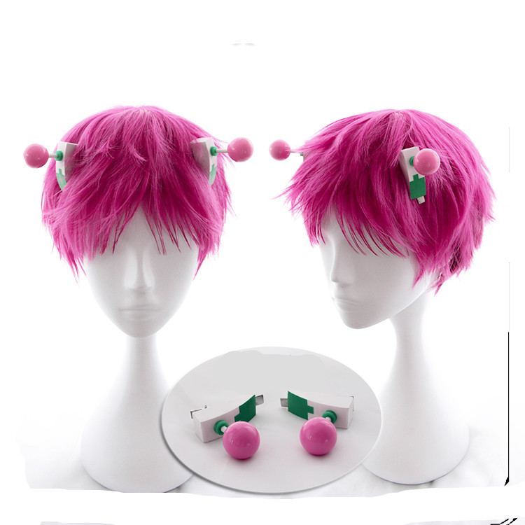 Tokyo Anime Saiki Kusuo Pink Wig with Hair Pin Decoration Saiki Kusuo Hair cosplay wig