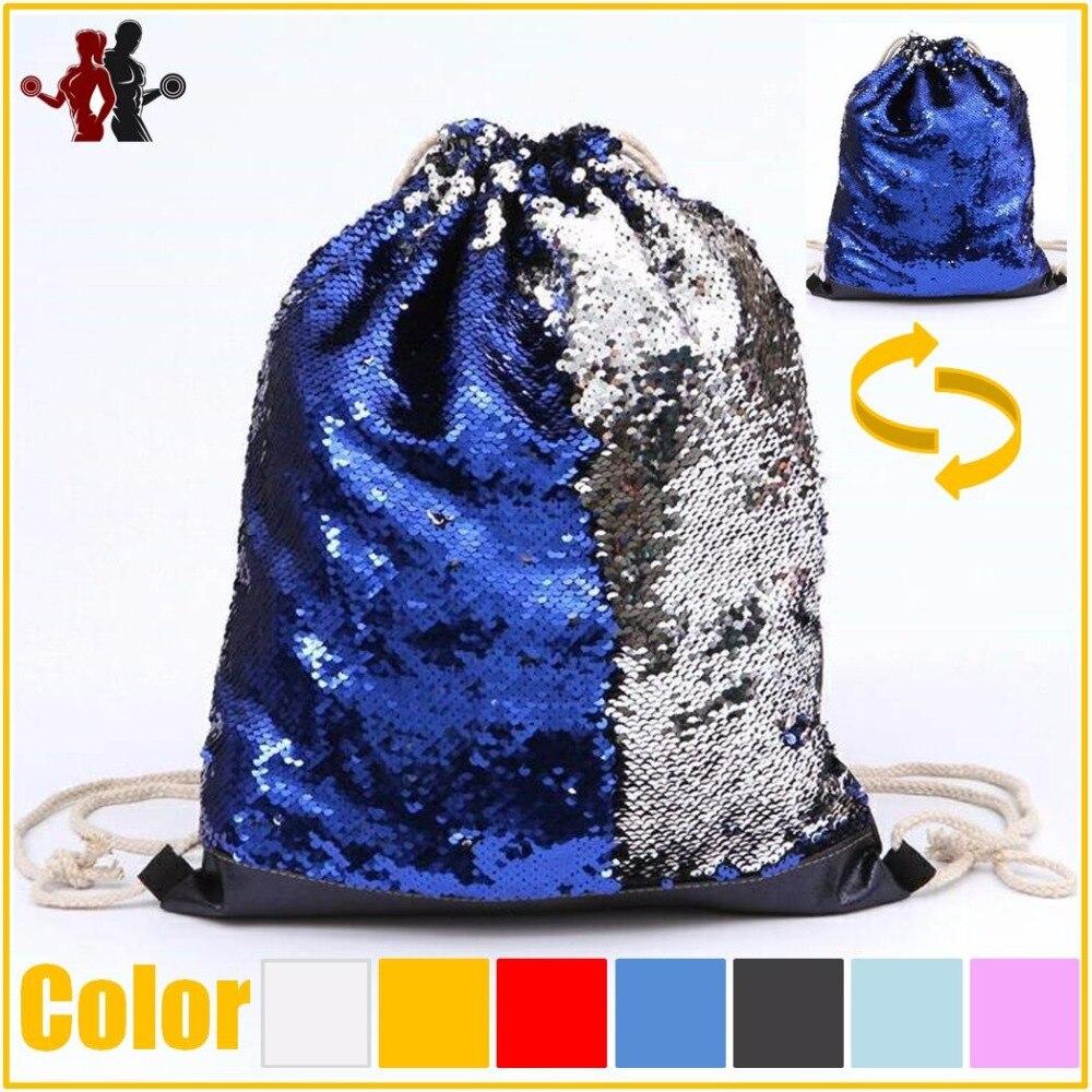 New Arrivel Mermaid Sequin Drawstring Bag Reversible Sequin DIY Design Backpack Glittering Shoulder Bag for Gym