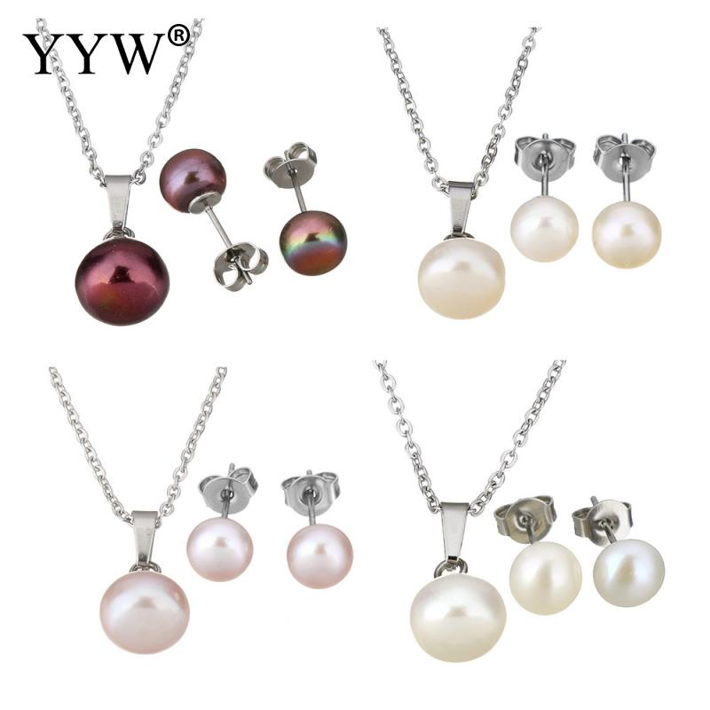 Woman Silver Plated Chain Stainless Steel Jewelry Sets Studs Earring Natural Freshwater Pearl Beaded Charm Pendant Necklace Set