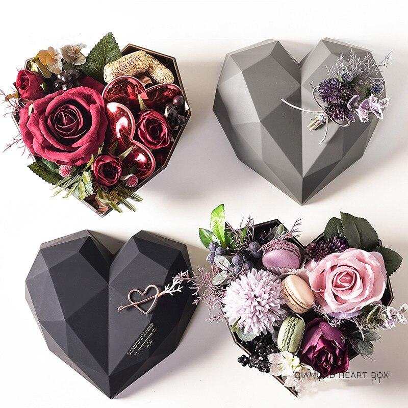 1pcs luxo do amor do coração em forma de caixas de presente caixa de embalagem florista florista subiu Buquê de Flores Flor Titular Caixas portátil titulares