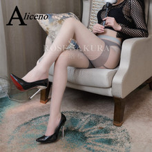 Sexy Stockings Lingerie Suspenders Pantyhose Open-Crotch Tights Women Patchwork-Color
