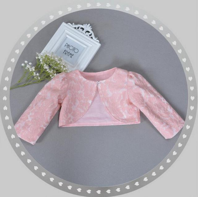 New Children Dress Shawl Small Coat Girls Long Sleeved Lace Coats Baby Cardigan Wedding Infant Jackets White Pink For Frocks