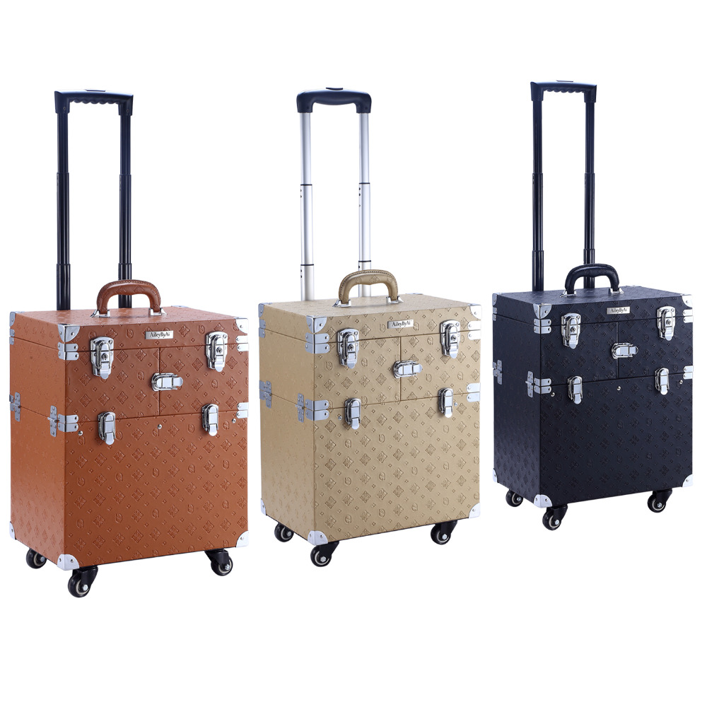 Rolling Makeup Case Carry On Storage Travel Luggage Box