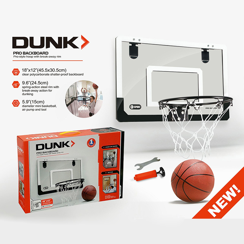 2018 HOT SALE New Mini Basketball Hoop With Ball 18 inch x12 inch Shatterproof Backboard for Children 1