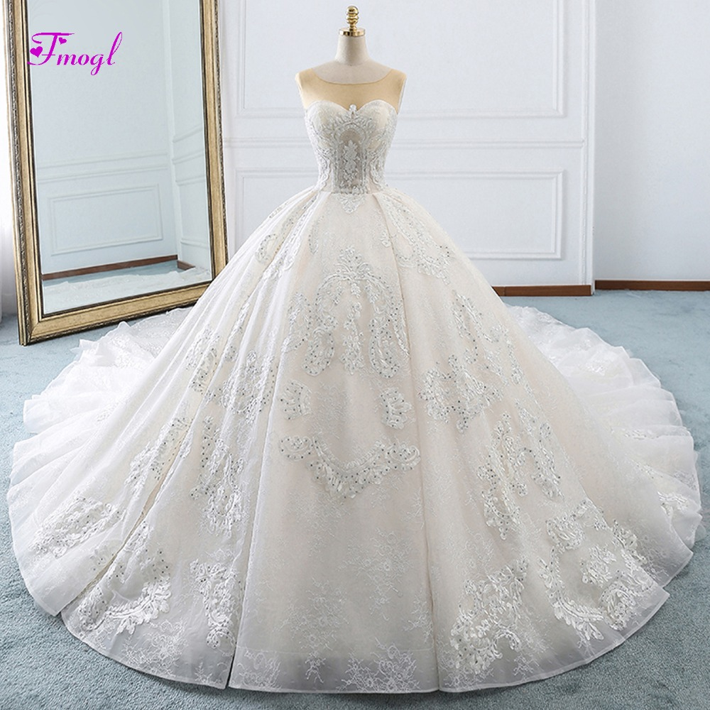 Disney Wedding Dresses 2019: Fmogl Vestido De Noiva Scoop Neck Appliques Lace Ball Gown