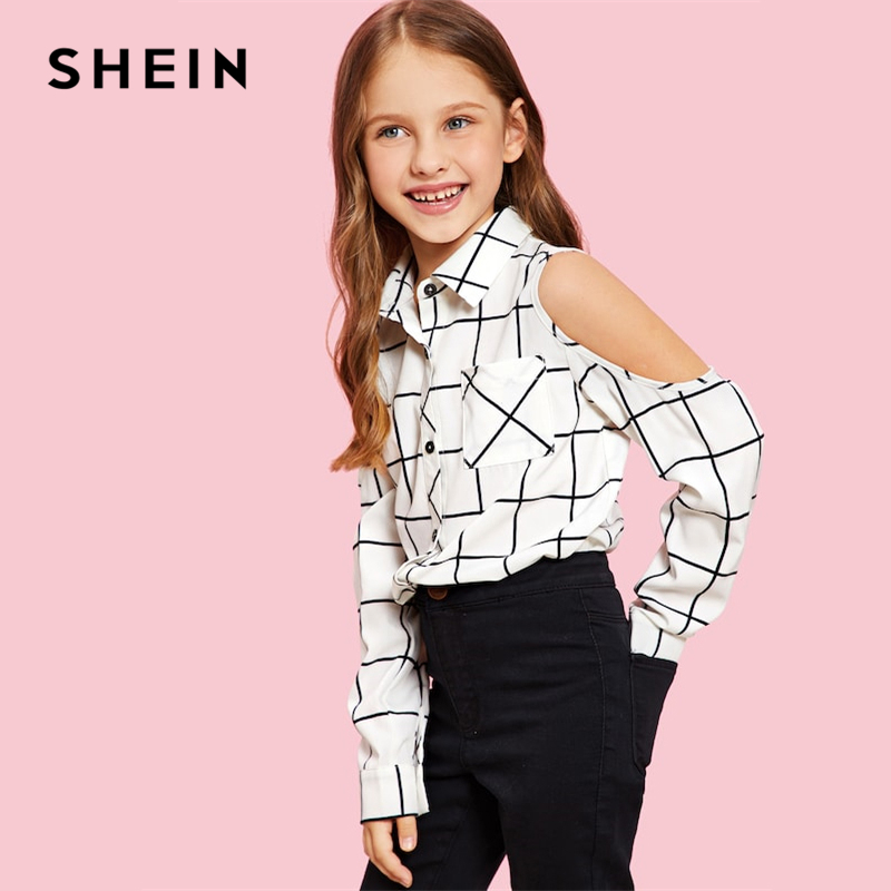 SHEIN Cold Shoulder Grid Plaid Casual Kids Shirt Girls Blouses 2019 Spring Fashion Elegant Long Sleeve Shirts For Girls Clothes turn down collar long sleeve checked print shirt for men