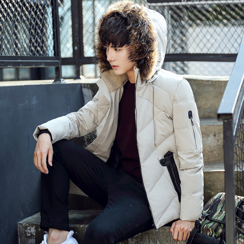 In The Winter Of 2016 Man Lightweight Short Slim Hooded Jacket Mens Youth Thickened Fur Collar Jacket   Down     Coat