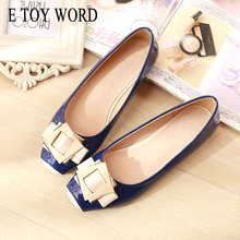 E TOY WORD patent leather flats square buckle shoes Candy color sweet fashion women square toe shoes shallow ladies flat shoes 2017 new candy color women loafers tassel fashion round toe ladies flat shoes woman sweet flats casual shoes k69