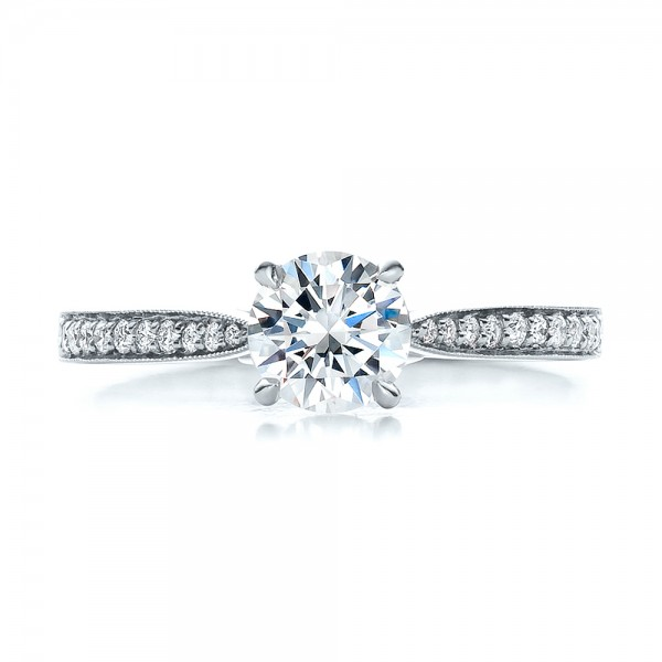 New Brilliant Shank 1CT Center Synthetic Diamond Solid 9k Gold Jewelry White Gold Engagement Wedding Ring for Women Gift