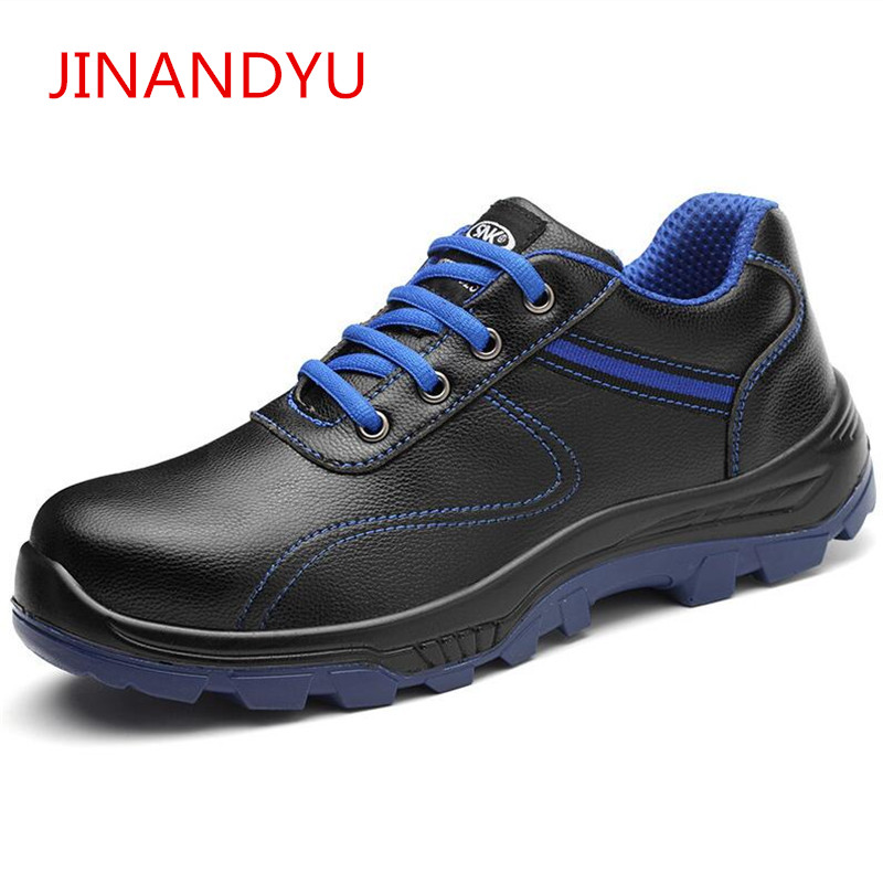 JINANDYU Mens Work Safety Shoes Steel Toe Lightweight Breathable Slip Resistance Casual Work Safety Boots Working Shoes Men halinfer men steel toe safety work shoes 2018 breathable lightweig slip on casual shoes safety shoes for men