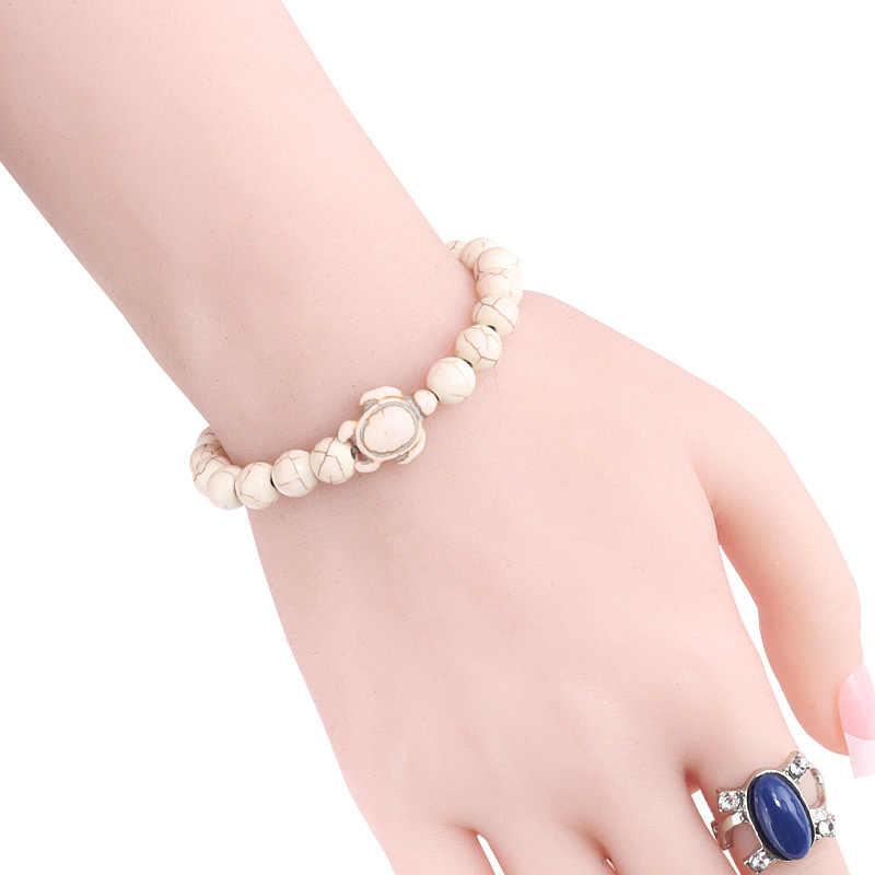 קיץ סגנון ים צב חרוזים צמידי נשים גברים קלאסי 8 MM כחול טבעי אבן אלסטי ידידות צמיד תכשיטי החוף