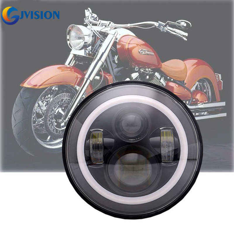Harley Daymaker 7 Inch Round LED Headlights Halo Angel Eyes Daytime Running lights For Harley Davidson Motorcycles 75w 7 inch round led projector headlights 4 1 2 led auxiliary lamps pack of 2 brackets bezel kit for harley motorcycles