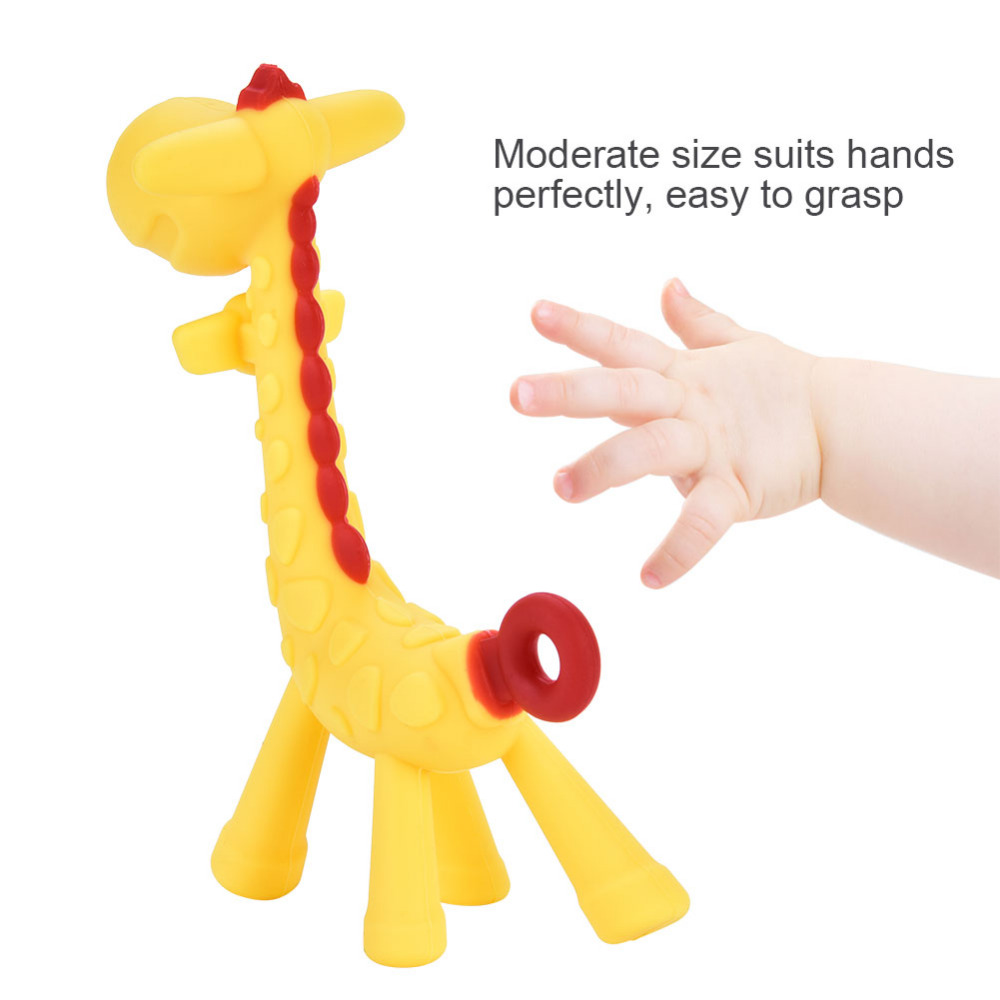 33c7782c8f6 US $1.99 15% OFF|Cartoon Giraffe Baby Teether Silicone BPA Free Food Grade  Infant Teething Toy New Necklace Hanging Chew Toy For Baby Stroller-in Baby  ...