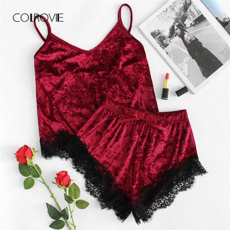 COLROVIE Contrast Eyelash Lace Crushed Velvet Cami PJ Set 2018 New Burgundy New Arrival Nightwear Elegant Pajama Set