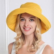 Kvinnlig solfärg solhatt dam sommarstranden vidbrädd fiskarehatt kvinna mode bomull och linne vanligt skophatt keps