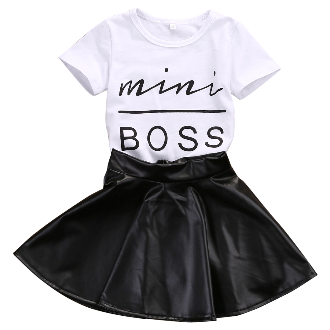 2017 New Fashion Toddler Kids Girl Clothes Set Summer Short Sleeve Mini Boss T-shirt Tops + Leather Skirt 2PCS Outfit Child Suit 2017 new fashion kids clothes off shoulder camo crop tops hole jean denim pant 2pcs outfit summer suit children clothing set