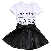 bd4c1fd510b25 Mode d été 2 pcs Enfant En Bas Âge Infantile Enfants Fille Vêtements Set  Mini Patron T-shirt Tops + Jupe En Cuir Outfit Enfant C..
