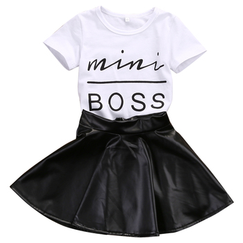 2020 New Fashion Toddler Kids Girl Clothes Set Summer Short Sleeve Mini Boss T-shirt Tops + Leather Skirt 2PCS Outfit Child Suit 1 5t toddler kids baby girl clothes set long sleeve ruffle tops denim skirt dress set elegant summer fashion outfit set