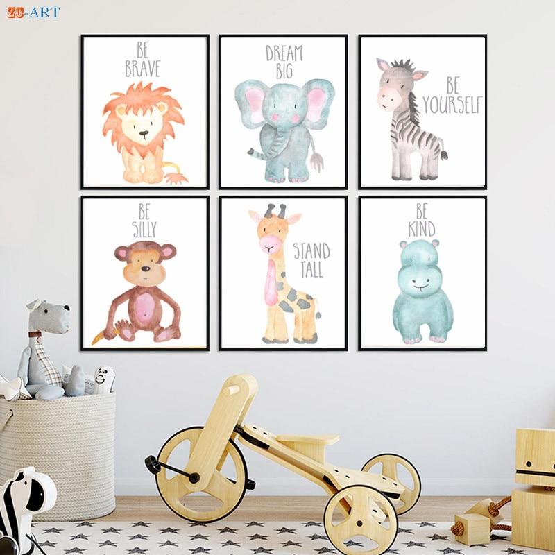 Affiche avec horloge zéro animaux, peinture sur toile, citation d'animaux Safari, feuilles imprimées, cadeau de réception pour bébé, décor mural artistique pour pépinière 1