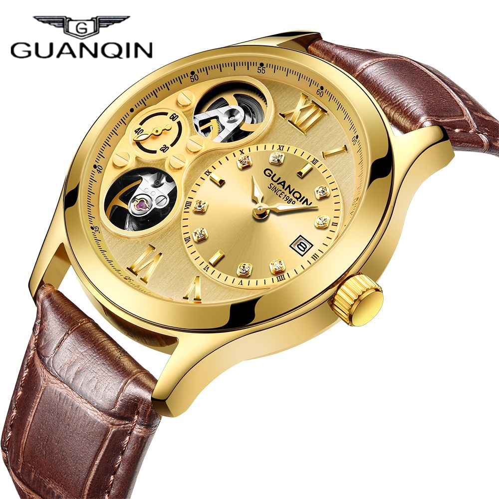 2019 GUANQIN Watch Men New Mechanical Top Brand Luxury Clock Men Automatic Waterproof Skeleton Double Movement