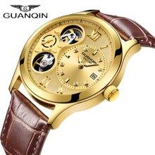 ساعة GUANQIN لعام 2019 للرجال جديدة ذات علامة تجارية فاخرة ميكانيكية ساعة رجالية أوتوماتيكية مضادة للماء حركة مزدوجة ساعة رجالية