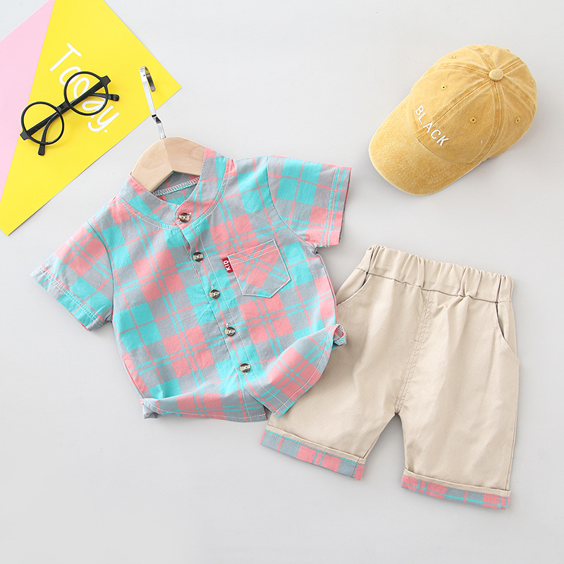 Boys Clothes Turn-down Collar Shirt Shorts Set for Baby Children Casual Sport Suit Plaid Top Cute Little Boys Summer Sets 1