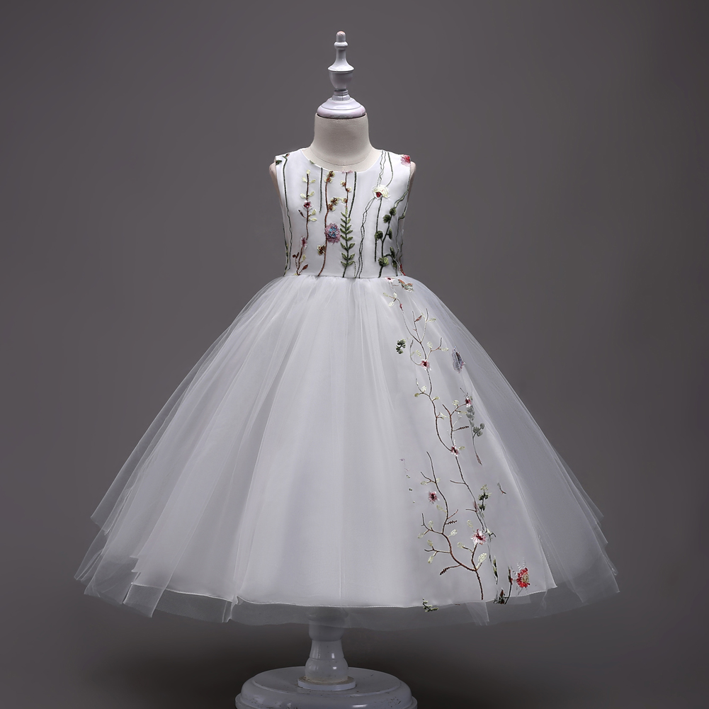 Детская одежда дизайнерская детская Выпускные платья Длинные подростков Обувь для девочек вечернее бальное 4 до 11 12 13 14 15 лет дети- белый-сва... ...