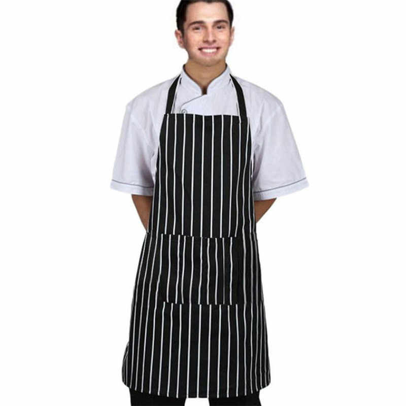 Kitchen Adjustable Adult Black Stripe Bib Apron With 2 Pockets Chef Waiter Cook